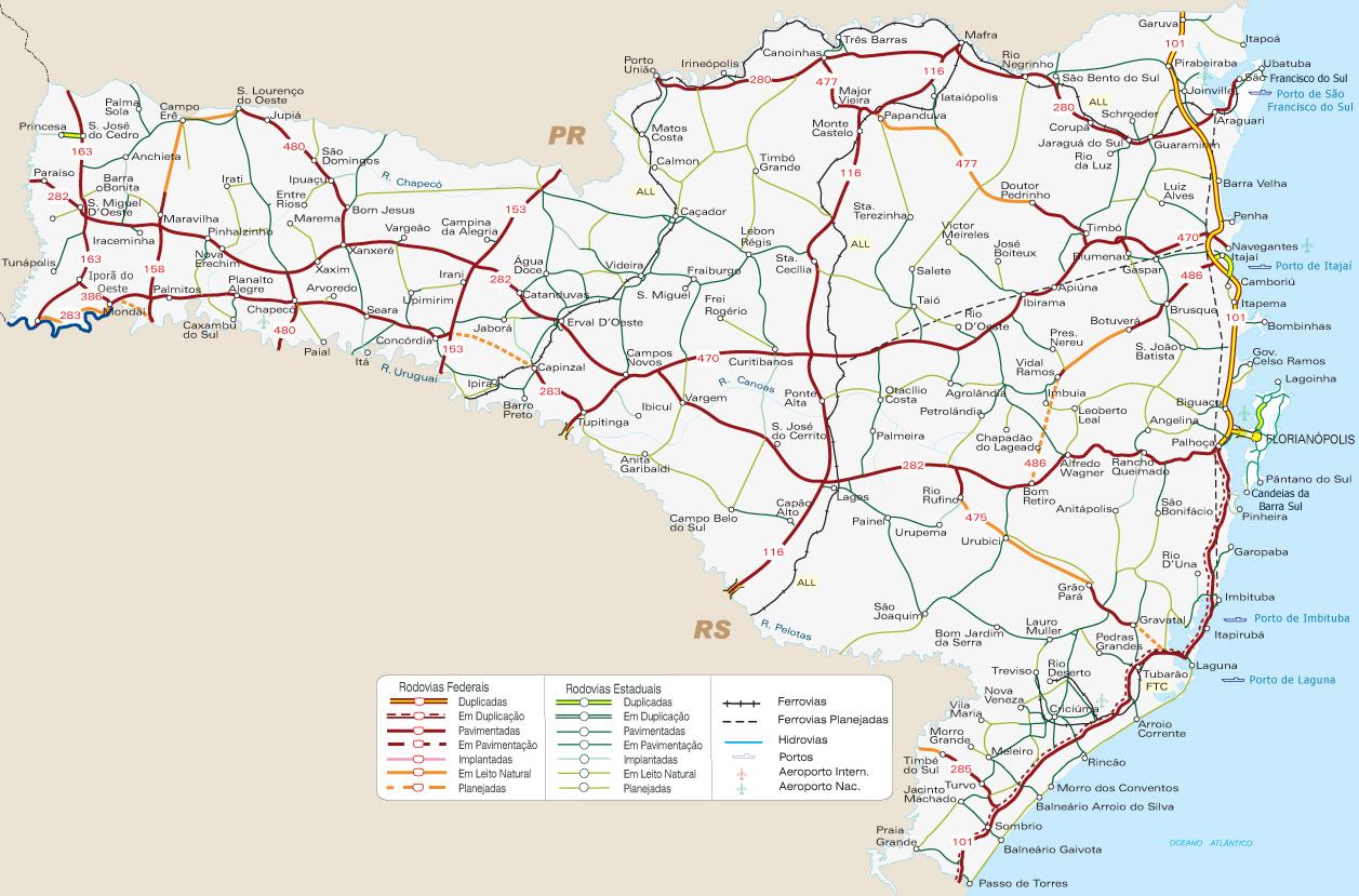 Mapa rodoviário detalhado de Santa Catarina, em PDF